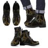 Gold Mandala Peace Women & Men Leather Boots