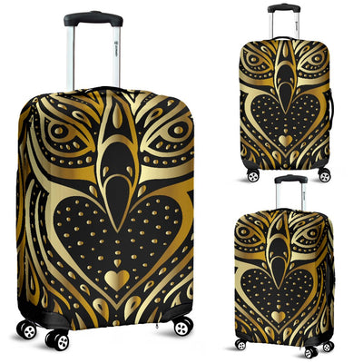 Gold Ornamental Owl Luggage Cover Protector