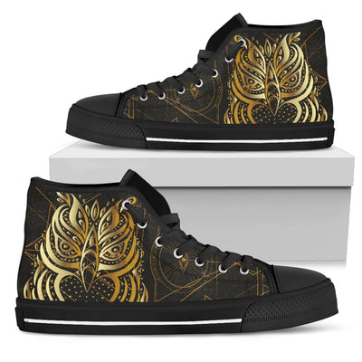 Gold Ornamental Owl Men High Top Canvas Shoes