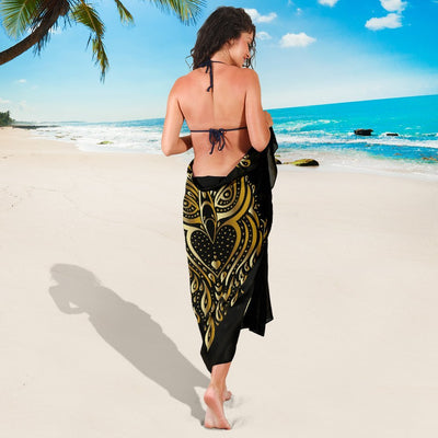 Gold Ornamental Owl Beach Sarong Pareo Wrap