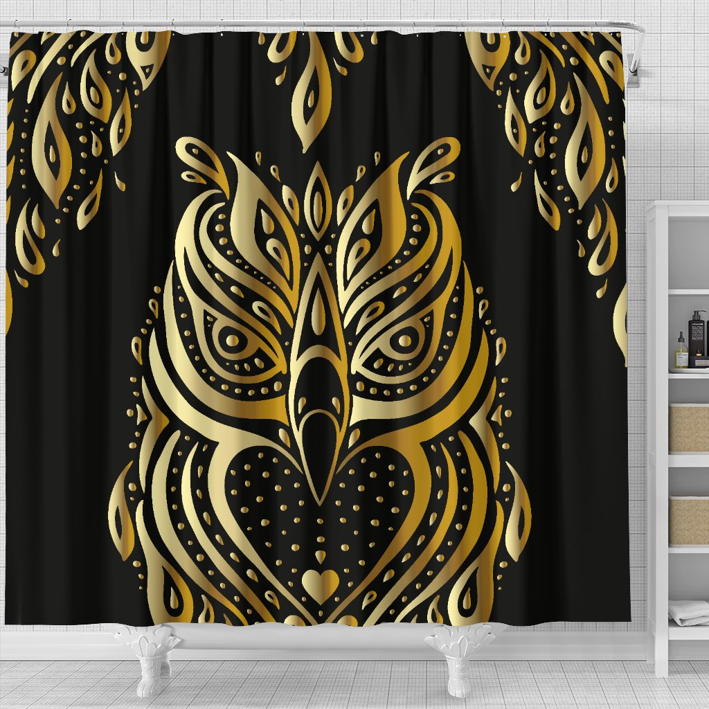 Gold Ornamental Owl Shower Curtain Jorjune