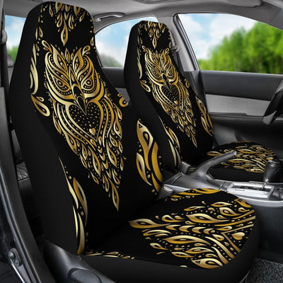 Gold Ornamental Owl Universal Fit Car Seat Covers