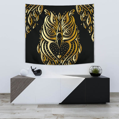 Gold Ornamental Owl Wall Tapestry
