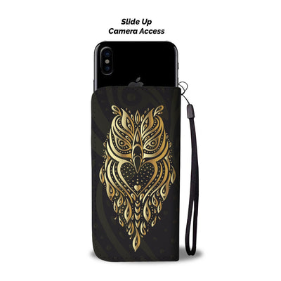 Gold Ornamental Owl Wallet Phone Case