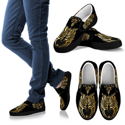 Gold Ornamental Owl Women Canvas Slip On Shoes