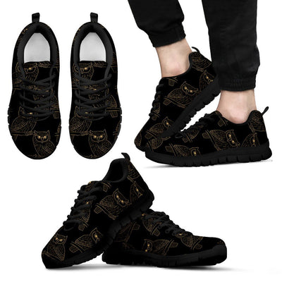 Gold Owl Pattern Men Sneakers
