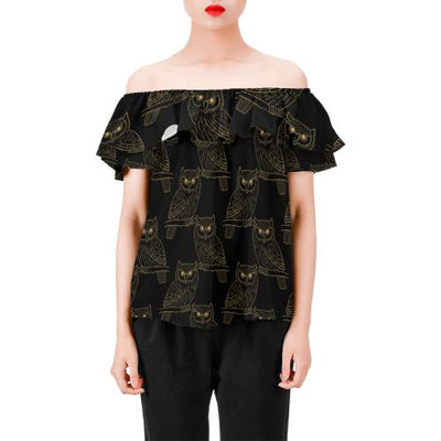 Gold Owl Pattern Off Shoulder Ruffle Blouse