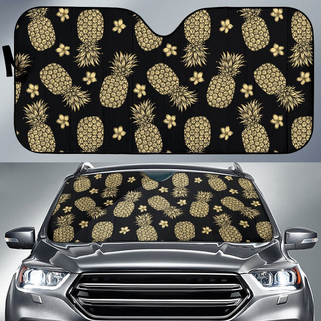 Gold Pineapple Hibiscus Car Sun Shade-JorJune
