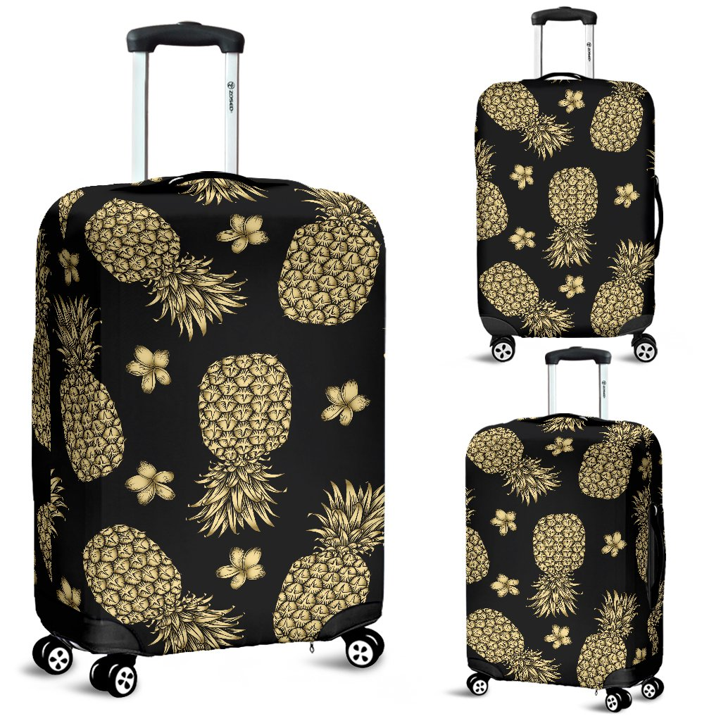 Gold Pineapple Hibiscus Luggage Cover Protector