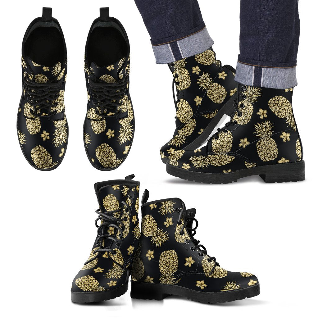 Gold Pineapple Hibiscus Men Leather Boots
