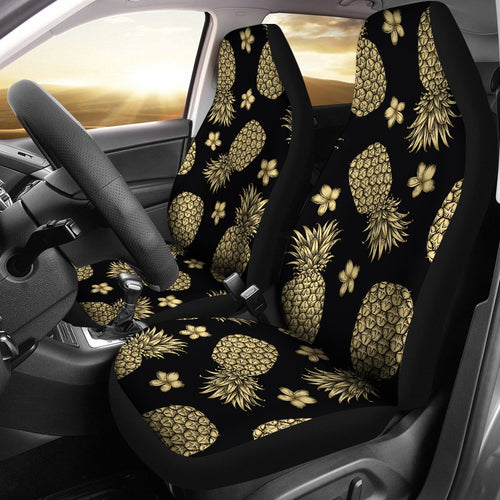 Gold Pineapple Hibiscus Universal Fit Car Seat Covers