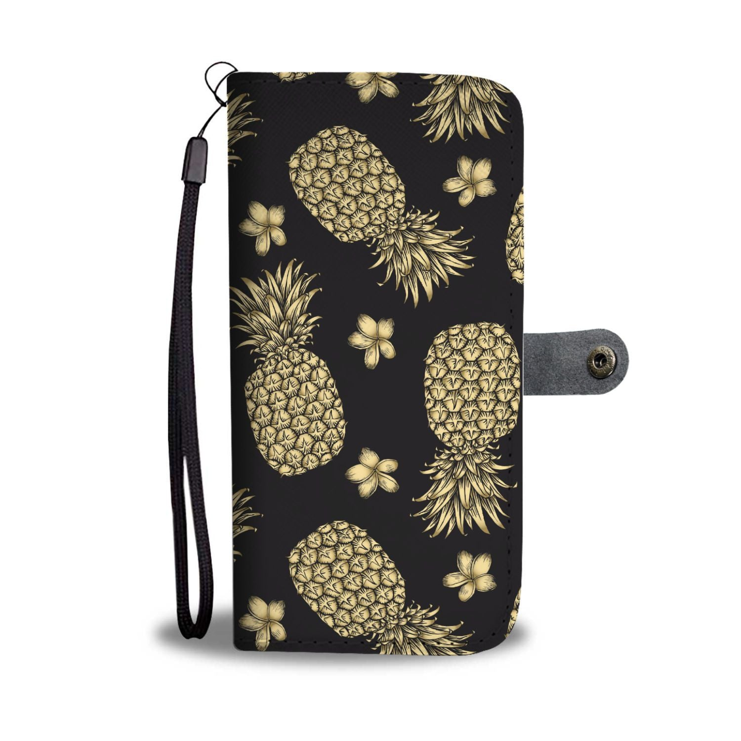 Gold Pineapple Hibiscus Wallet Phone Case