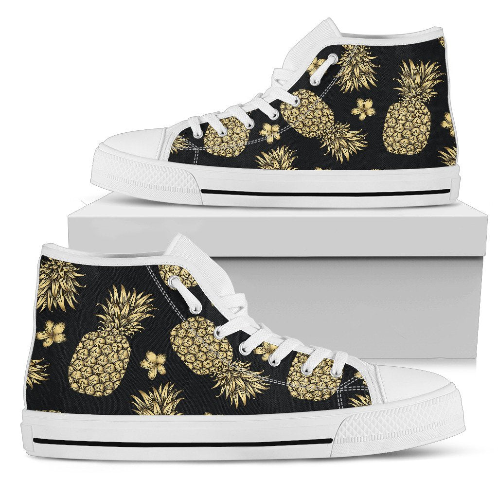 Gold Pineapple Hibiscus Women High Top Shoes