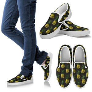 Gold Pineapple Men Canvas Slip On Shoes