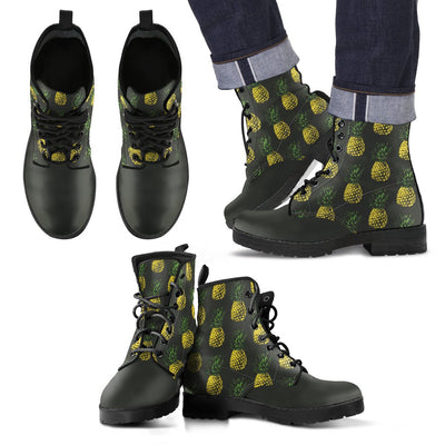 Gold Pineapple Women & Men Leather Boots