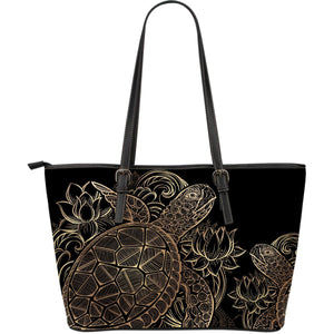 Gold Sea turtle Hawaiian Large Leather Tote Bag