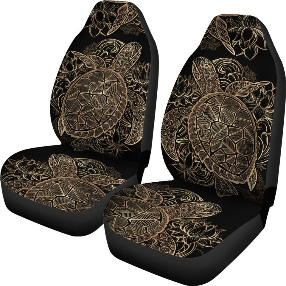 Gold Sea Turtle Hawaiian style Universal Fit Car Seat Covers
