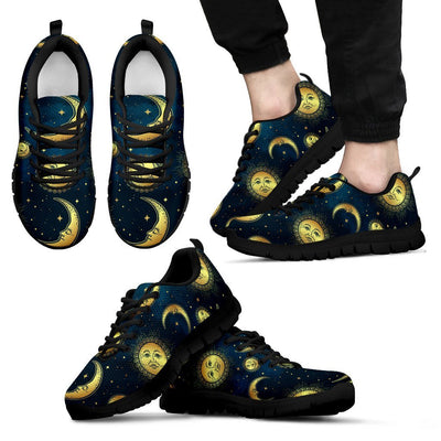 Gold Sun Moon Face Men Sneakers
