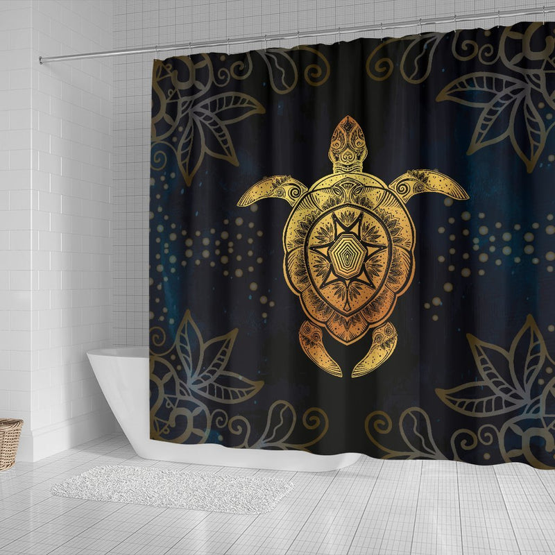 Gold Sea Turtle Mandala Shower Curtain