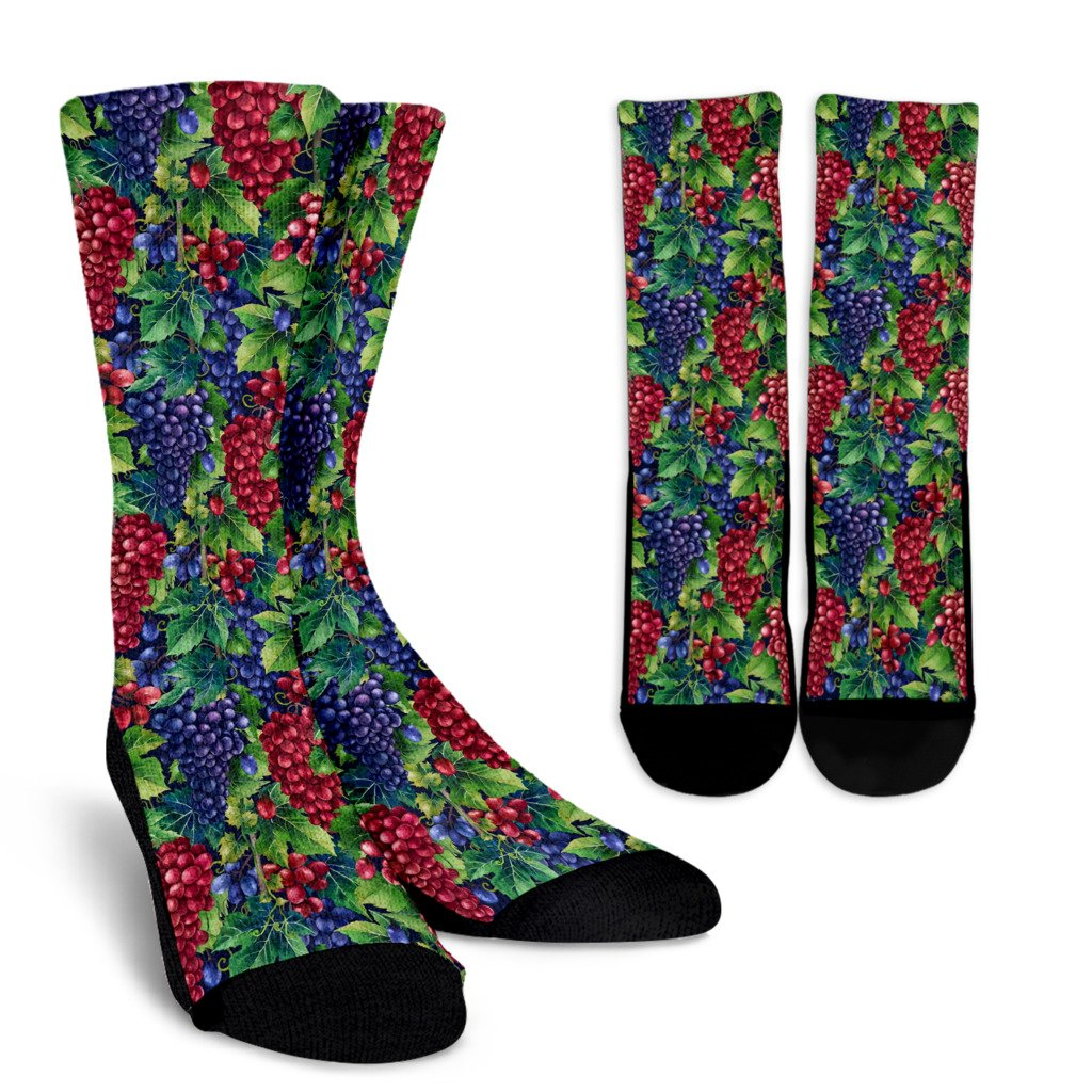 Grape Pattern Print Design GP02 Crew Socks-JORJUNE.COM