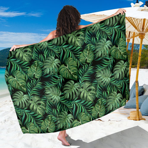 Green Fresh Tropical Palm Leaves Beach Sarong Pareo Wrap