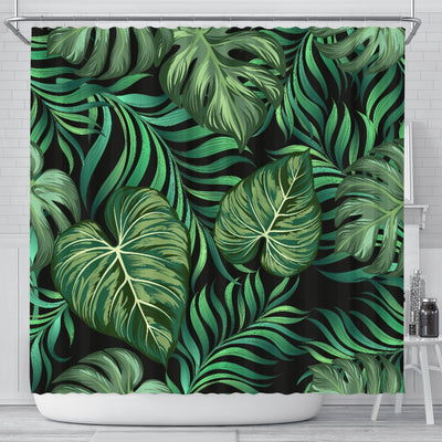 Green Fresh Tropical Palm Leaves Shower Curtain