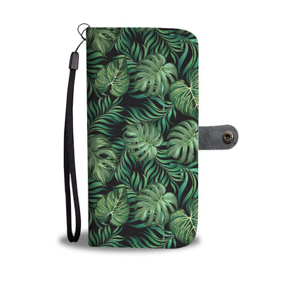 Green Fresh Tropical Palm Leaves Wallet Phone Case