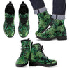Green Fresh Tropical Palm Leaves Women & Men Leather Boots