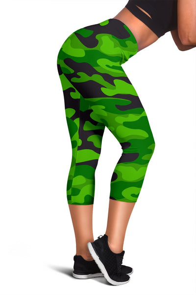 Green Kelly Camo Print Women Capris