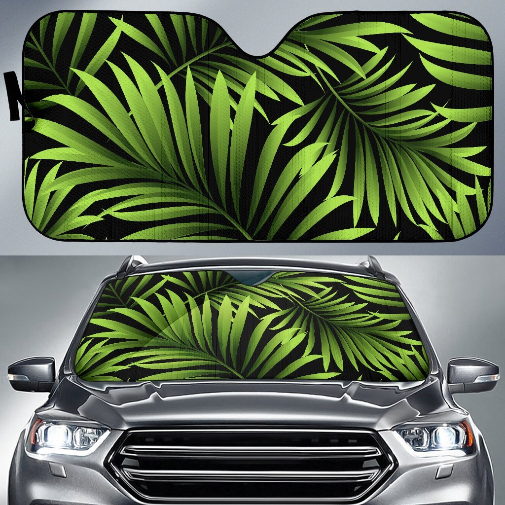 Green Neon Tropical Palm Leaves Car Sun Shade-JorJune