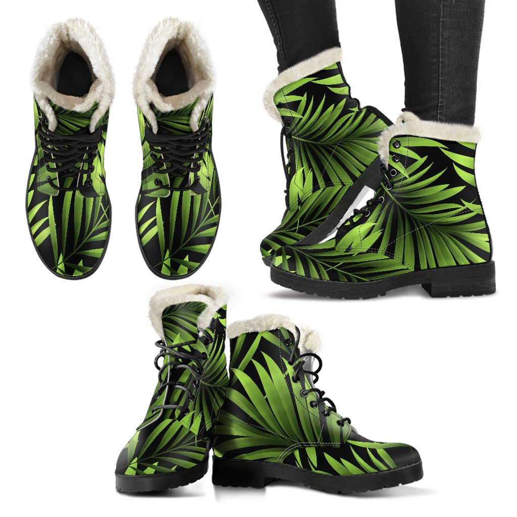 Green Neon Tropical Palm Leaves Faux Fur Leather Boots