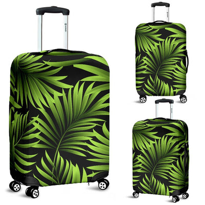 Green Neon Tropical Palm Leaves Luggage Protective Cover
