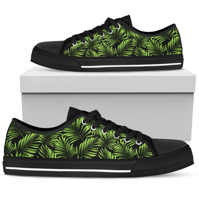 Green Neon Tropical Palm Leaves Men Low Top Canvas Shoes