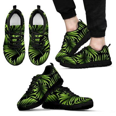 Green Neon Tropical Palm Leaves Men Sneakers
