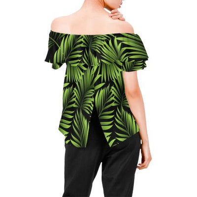 Green Neon Tropical Palm Leaves Off Shoulder Ruffle Blouse