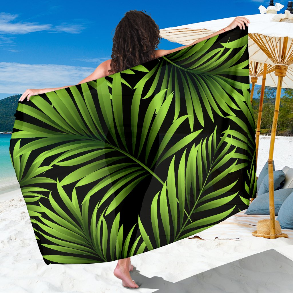 Green Neon Tropical Palm Leaves Sarong Pareo Wrap