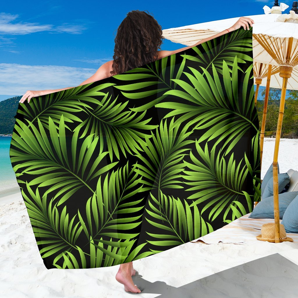 Green Neon Tropical Palm Leaves Beach Sarong Pareo Wrap