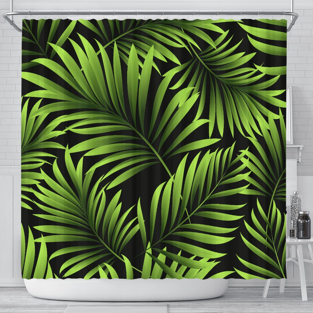 Green Neon Tropical Palm Leaves Shower Curtain Jorjune Matching bath mat (image 2) and towel (image 3). green neon tropical palm leaves shower