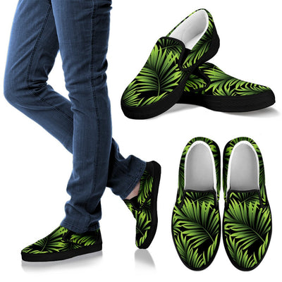 Green Neon Tropical Palm Leaves Women Canvas Slip On Shoes