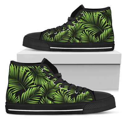 Green Neon Tropical Palm Leaves Women High Top Canvas Shoes