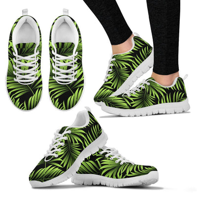 Green Neon Tropical Palm Leaves Women Sneakers