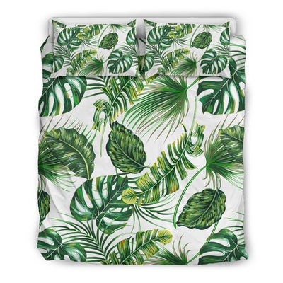 Green Pattern Tropical Palm Leaves Duvet Cover Bedding Set