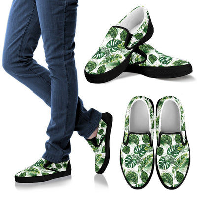 Green Pattern Tropical Palm Leaves Men Canvas Slip On Shoes