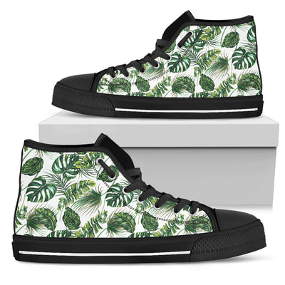 Green Pattern Tropical Palm Leaves Men High Top Canvas Shoes