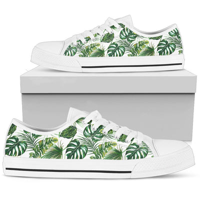 Green Pattern Tropical Palm Leaves Men Low Top Canvas Shoes