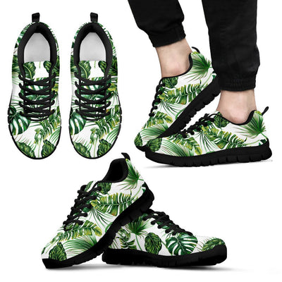 Green Pattern Tropical Palm Leaves Men Sneakers