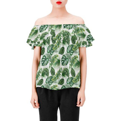 Green Pattern Tropical Palm Leaves Off Shoulder Ruffle Blouse