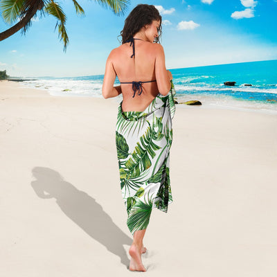 Green Pattern Tropical Palm Leaves Sarong Pareo Wrap