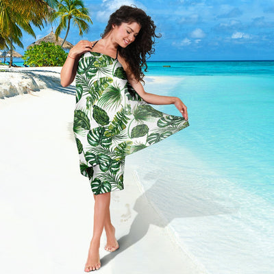 Green Pattern Tropical Palm Leaves Beach Sarong Pareo Wrap