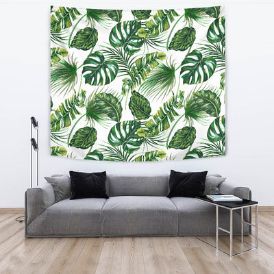Green Pattern Tropical Palm Leaves Wall Tapestry